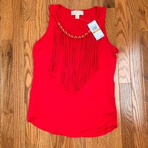 ❤️NWT- Red Michael Kors Fringed Tank Top Size S